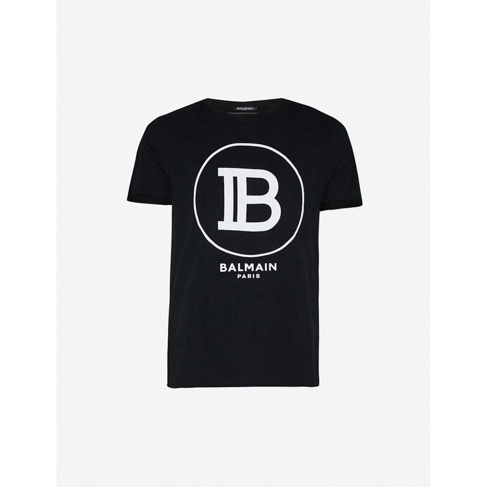 バルマン BALMAIN メンズ Tシャツ トップス【Logo-print cotton-jersey T-shirt】BLACK