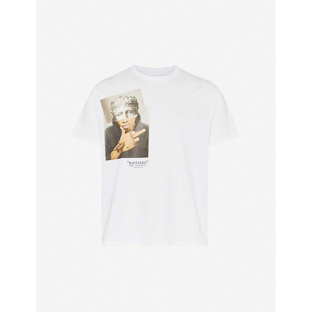 ニール バレット NEIL BARRETT メンズ Tシャツ トップス【Rap-cules crewneck cotton-jersey T-shirt】White Multi