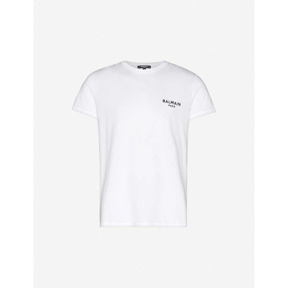 バルマン BALMAIN メンズ Tシャツ トップス【Logo-embroidered cotton-jersey T-shirt】White