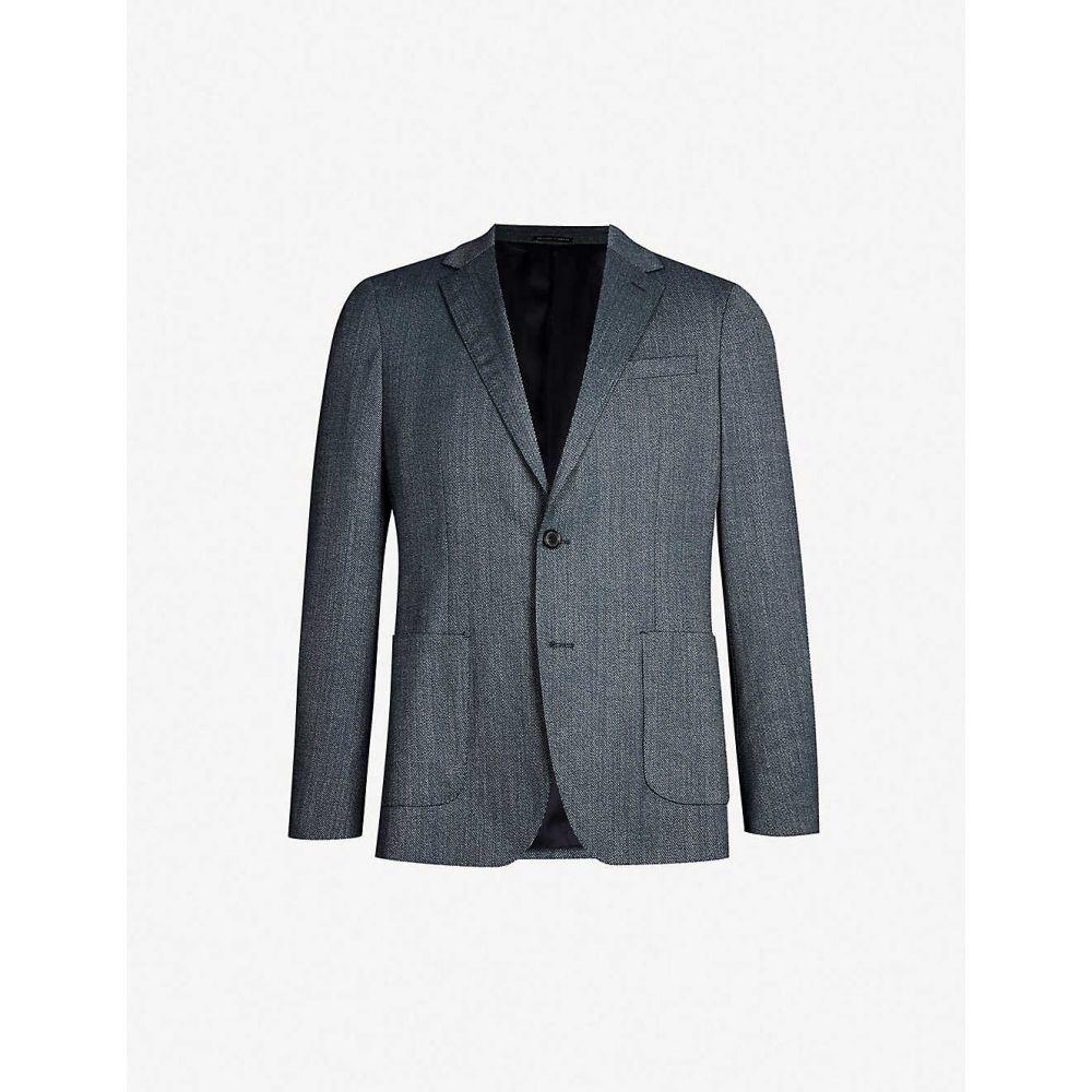 リース REISS メンズ スーツ・ジャケット アウター【Ohio regular-fit woven-twill blazer】Airforce blue