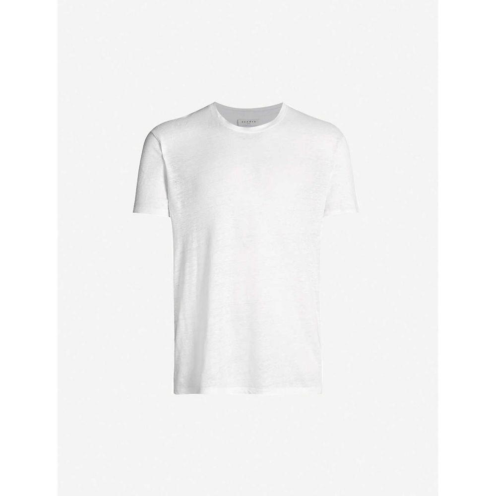 サンドロ SANDRO メンズ Tシャツ トップス【Crewneck linen-jersey T-shirt】WHITE