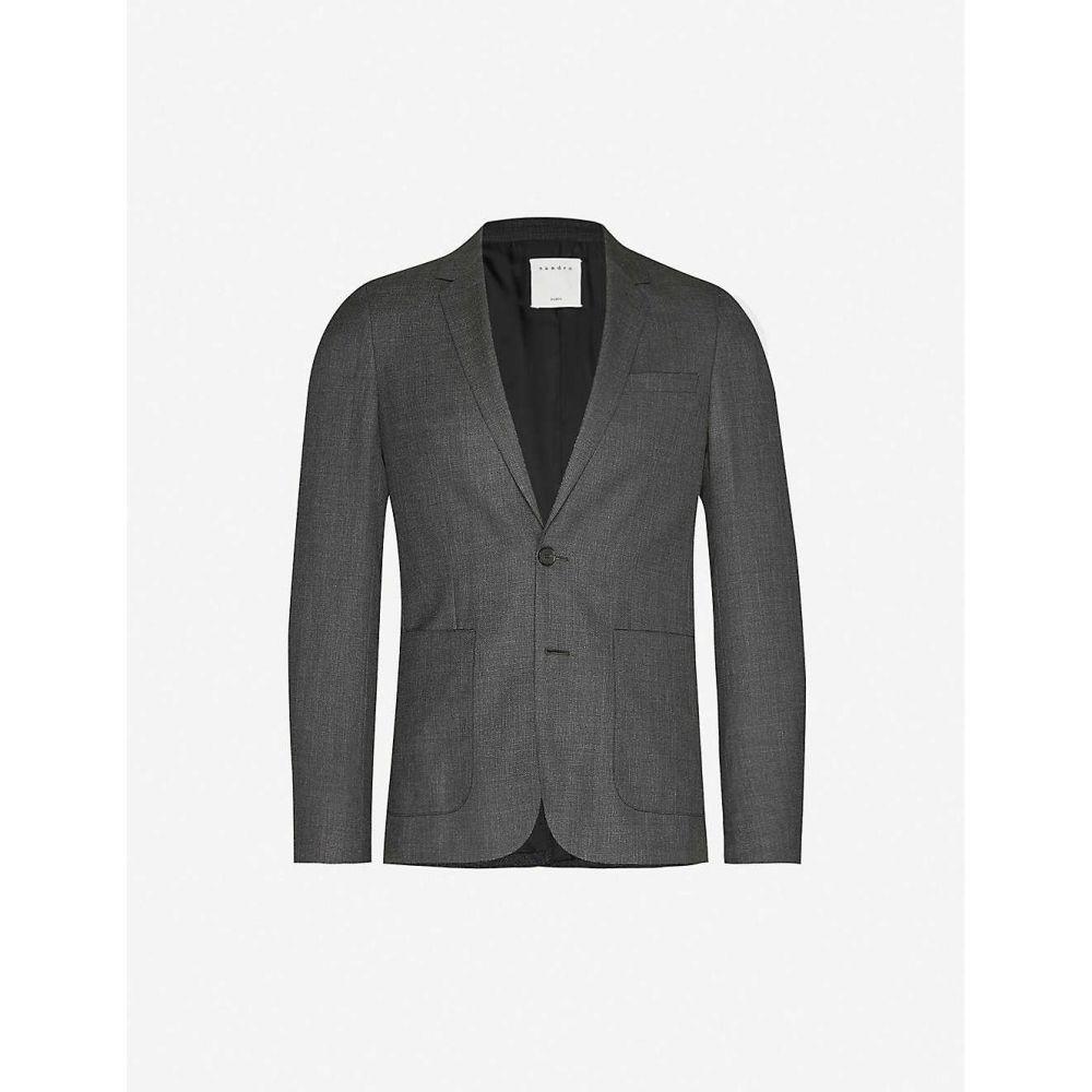 サンドロ SANDRO メンズ スーツ・ジャケット アウター【Single-breasted wool blazer】MOCKED GREY