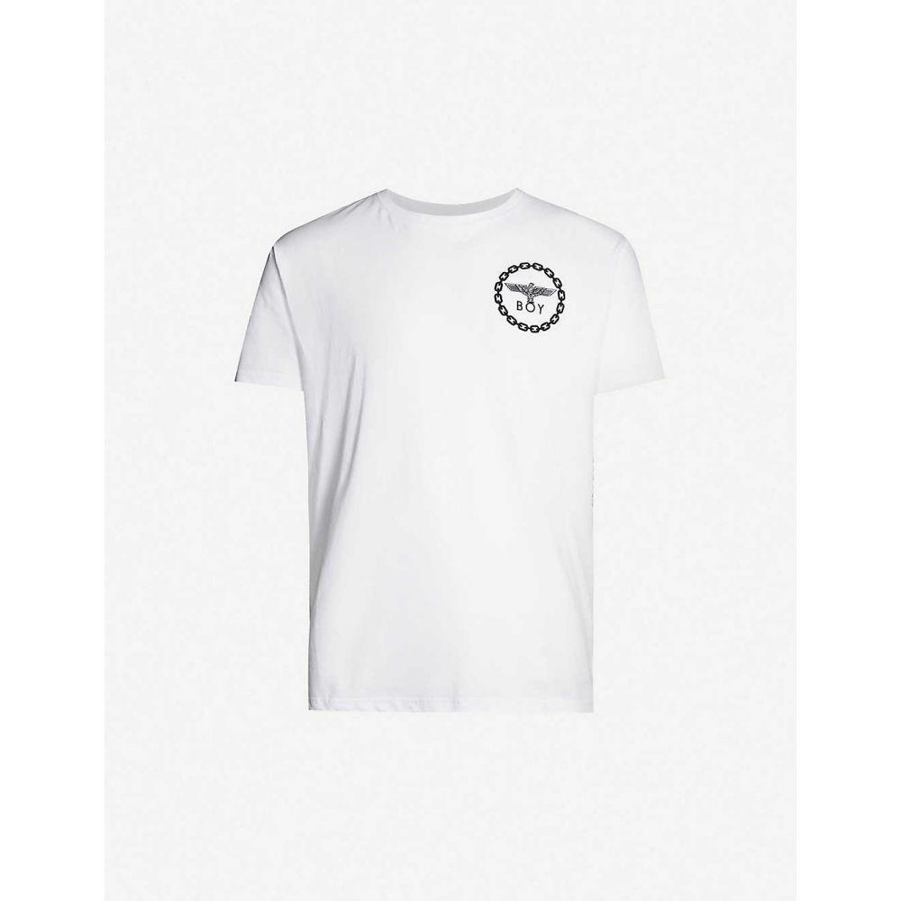 ボーイロンドン メンズ トップス お値打ち価格で 贈物 Tシャツ サイズ交換無料 BOY LONDON cotton-jersey T-shirt WHITE Graphic-print BLACK