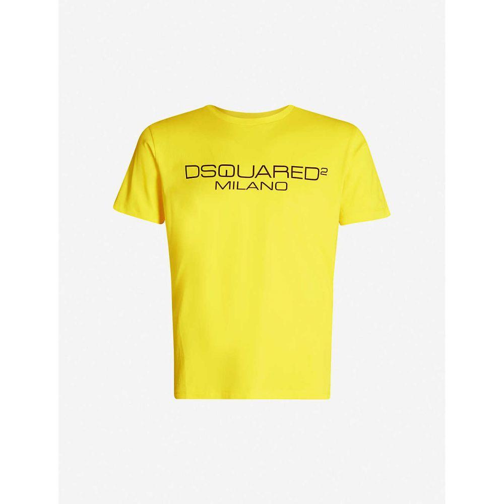 ディースクエアード DSQUARED2 メンズ Tシャツ トップス【Logo-print cotton-jersey T-shirt】YELLOW BLACK