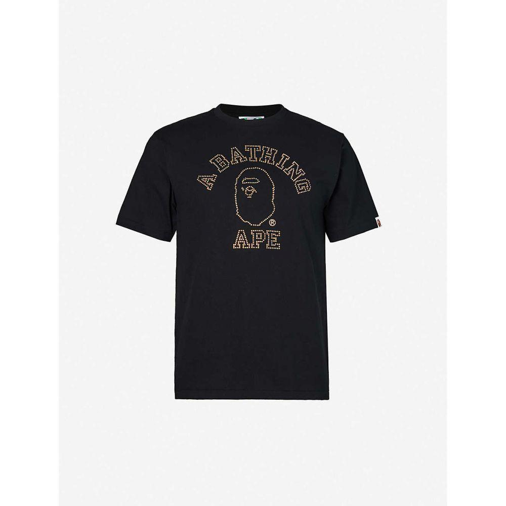 ベイプ BAPE メンズ Tシャツ トップス【Logo-embellished cotton-jersey T-shirt】BLACK