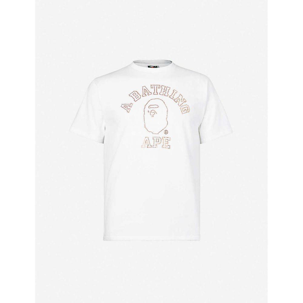 ベイプ BAPE メンズ Tシャツ トップス【Logo-embellished cotton-jersey T-shirt】WHITE