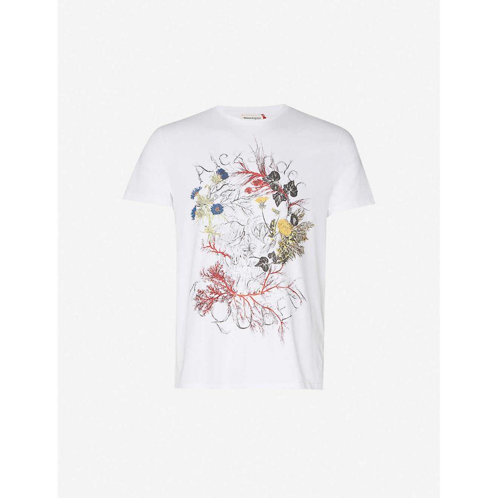 アレキサンダー マックイーン ALEXANDER MCQUEEN メンズ Tシャツ トップス【Graphic-print crewneck cotton-jersey T-shirt】White Mix