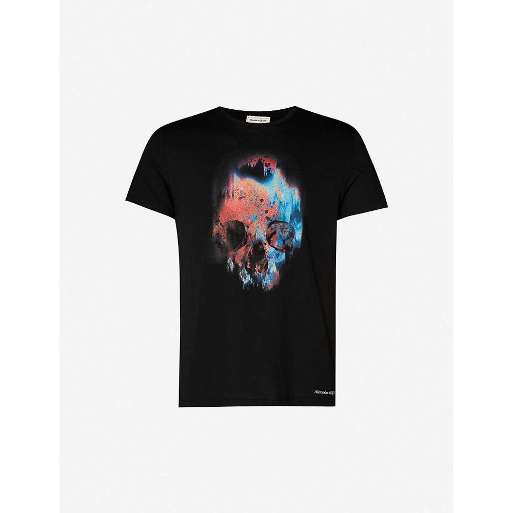 アレキサンダー マックイーン ALEXANDER MCQUEEN メンズ Tシャツ トップス【Graphic-print cotton-jersey T-shirt】BLACK MIX