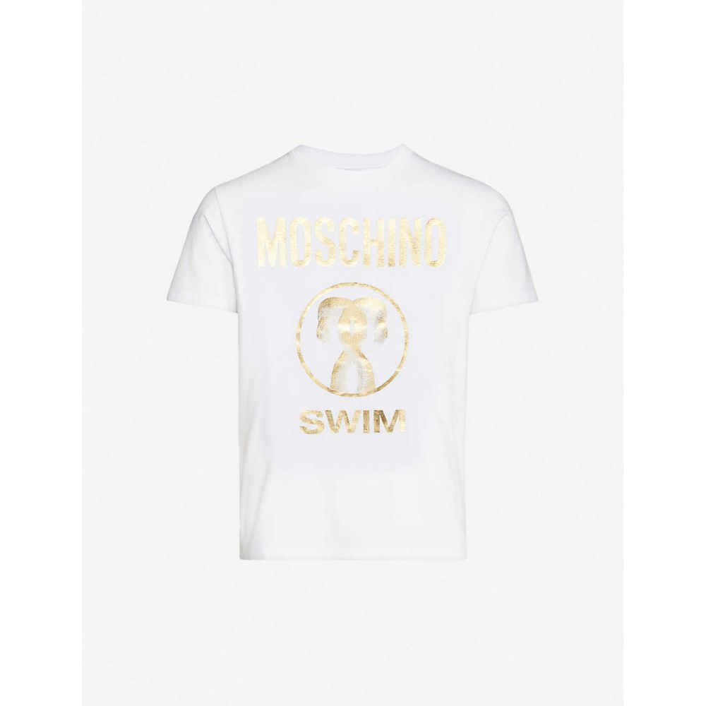 モスキーノ MOSCHINO メンズ Tシャツ トップス【Flamingo-print stretch-cotton jersey T-shirt】White