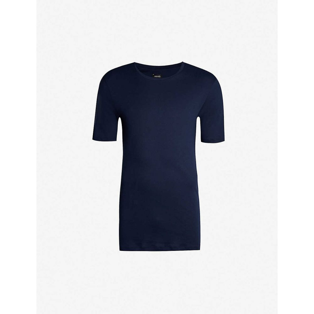 ハンロ HANRO メンズ パジャマ・トップのみ インナー・下着【Sea Island cotton-jersey T-shirt】DEEP MIDNIGHT