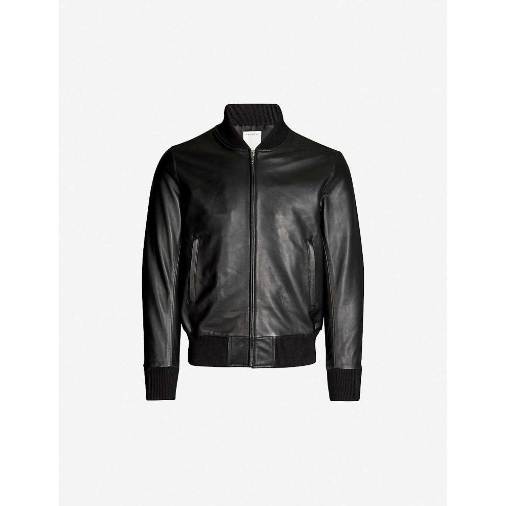 サンドロ SANDRO メンズ レザージャケット ミリタリージャケット アウター【Leather bomber jacket】Black