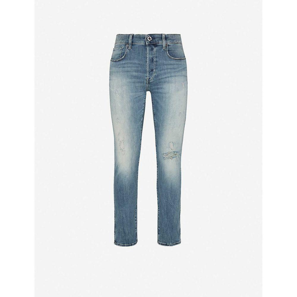 ジースター ロゥ G-STAR メンズ ジーンズ・デニム ボトムス・パンツ【3301 Slim faded slim-fit jeans】Ripped Marine