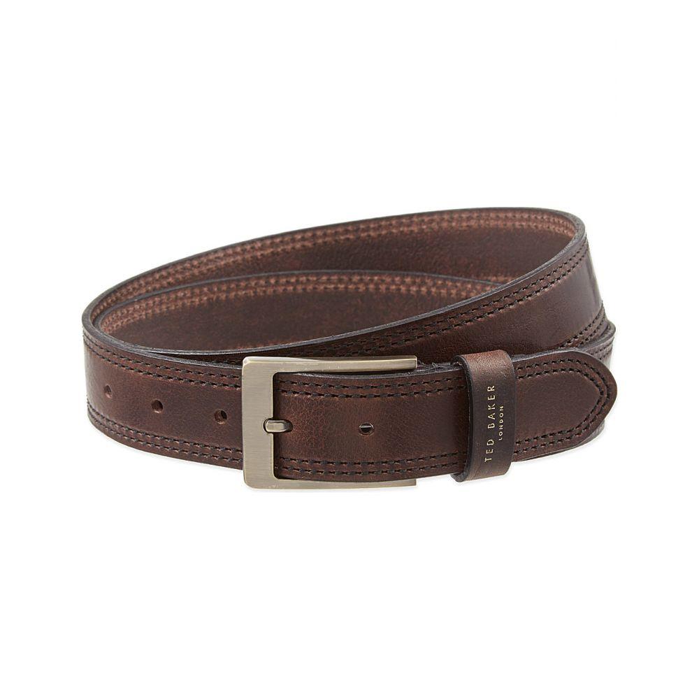 テッドベーカー TED BAKER メンズ ベルト 【Crikitt stitched leather belt】CHOCOLATE