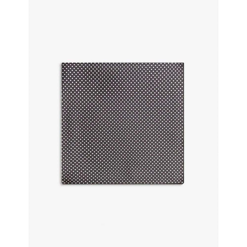 イートン ETON メンズ ハンカチ・チーフ 【Polka-dot silk pocket square】Black