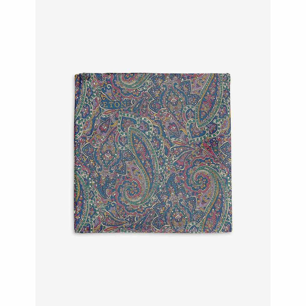 イートン ETON メンズ ハンカチ・チーフ 【Paisley print silk pocket square】Purple