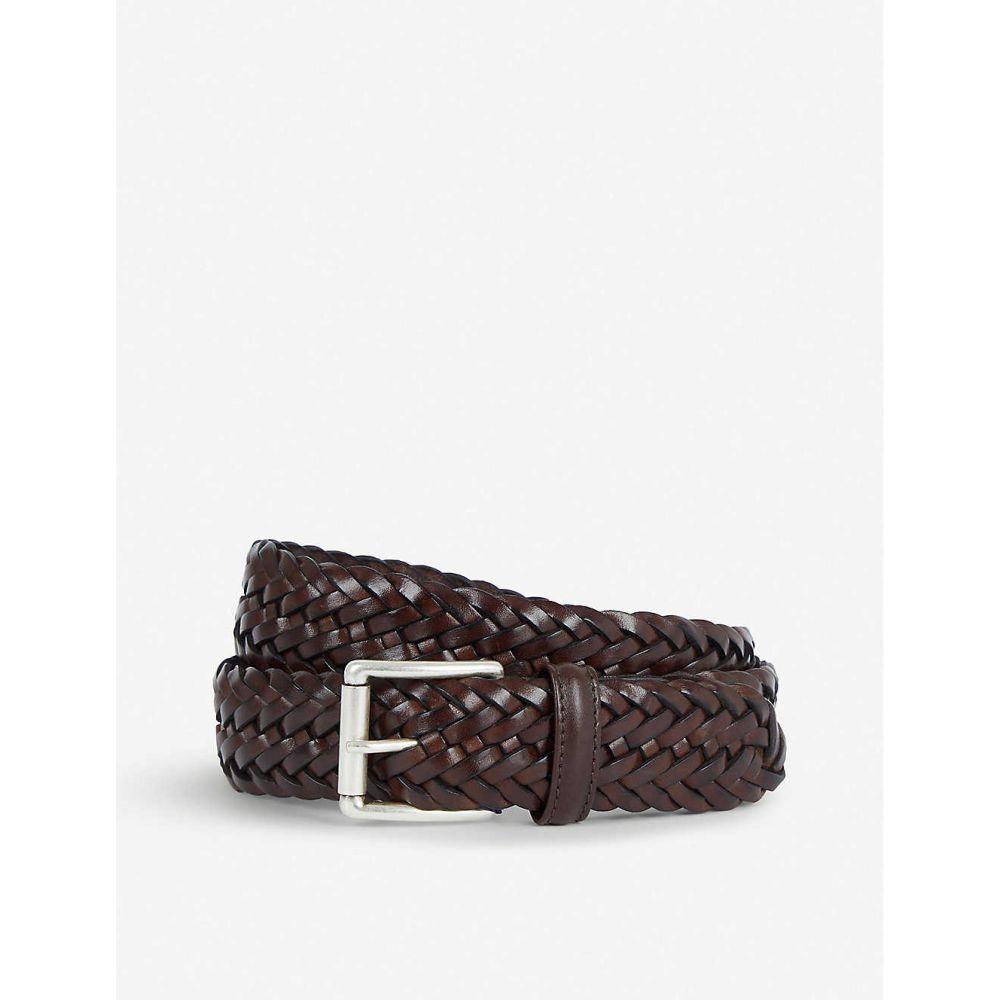 アンダーソンズ ANDERSONS メンズ ベルト 【Woven elastic and leather belt】BROWN