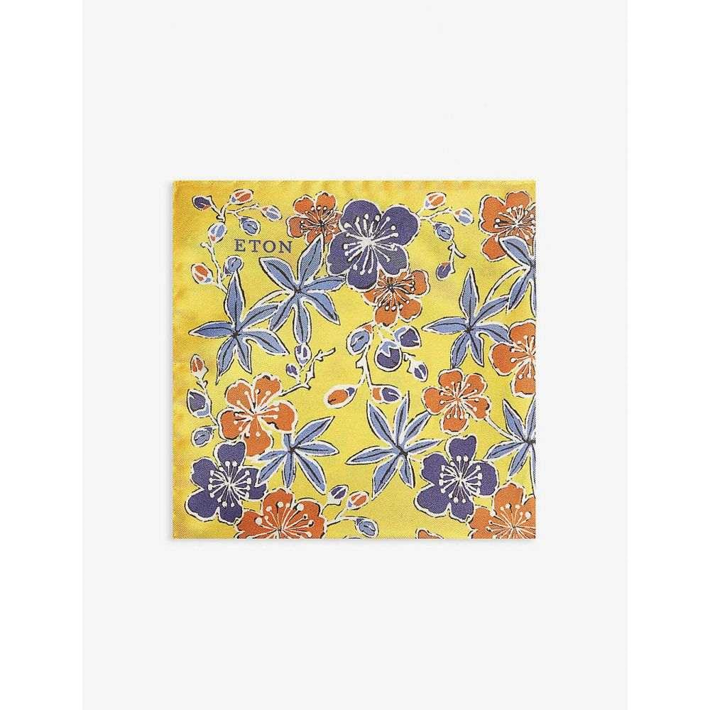 イートン ETON メンズ ハンカチ・チーフ 【Floral print silk pocket square】Yellow/orange