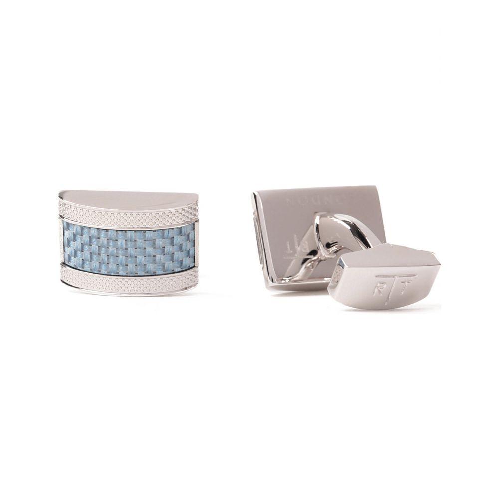 タテオシアン TATEOSSIAN メンズ カフス・カフリンクス 【Etched D shape cufflinks】Blue