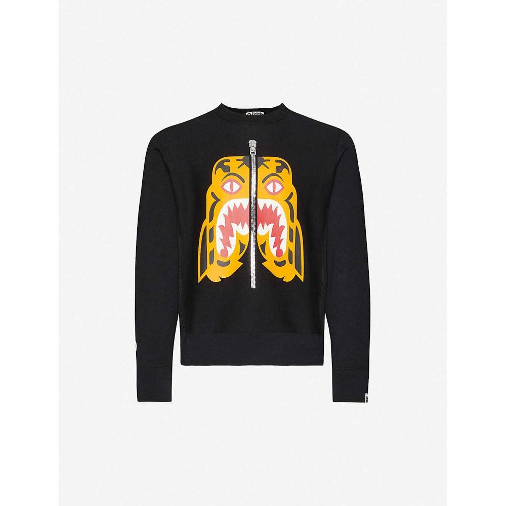 ア ベイシング エイプ A BATHING APE メンズ スウェット・トレーナー トップス【Tiger print cotton-jersey sweatshirt】BLACK