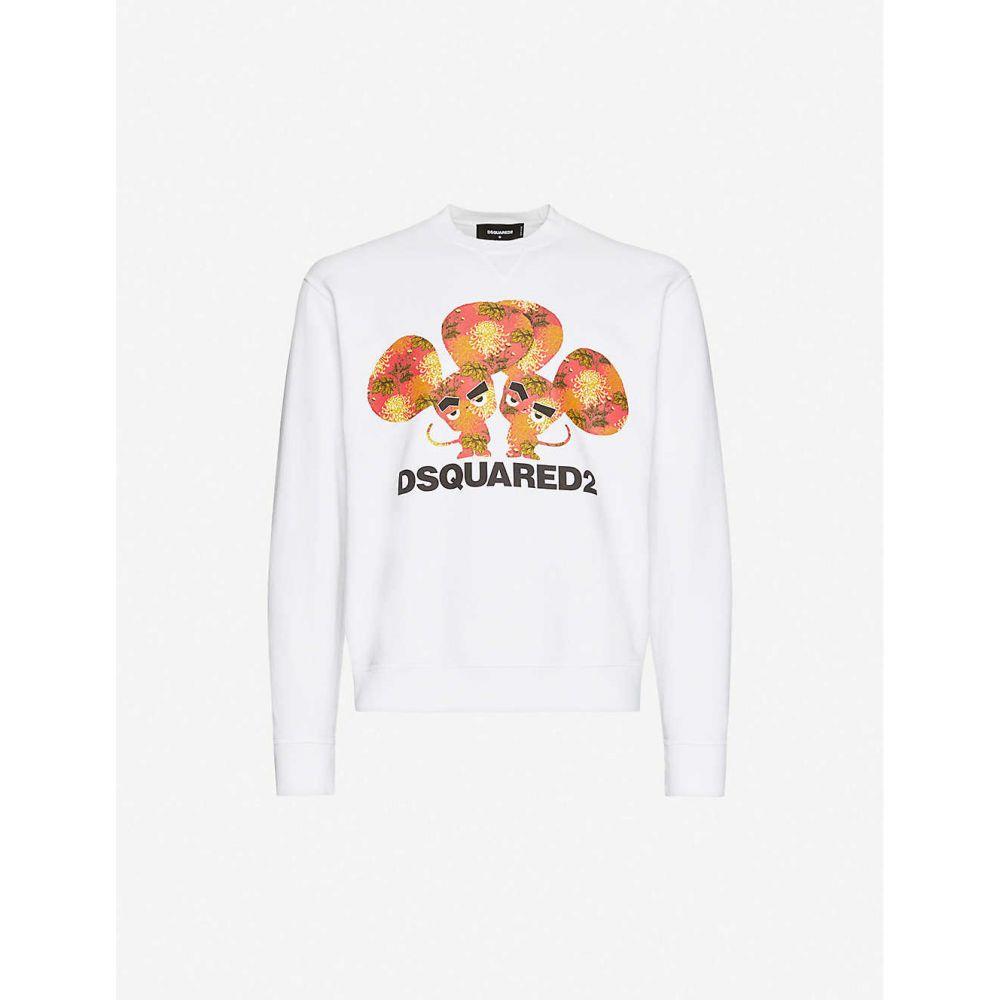 ディースクエアード DSQUARED2 メンズ スウェット・トレーナー トップス【Graphic print cotton-jersey sweatshirt】WHITE