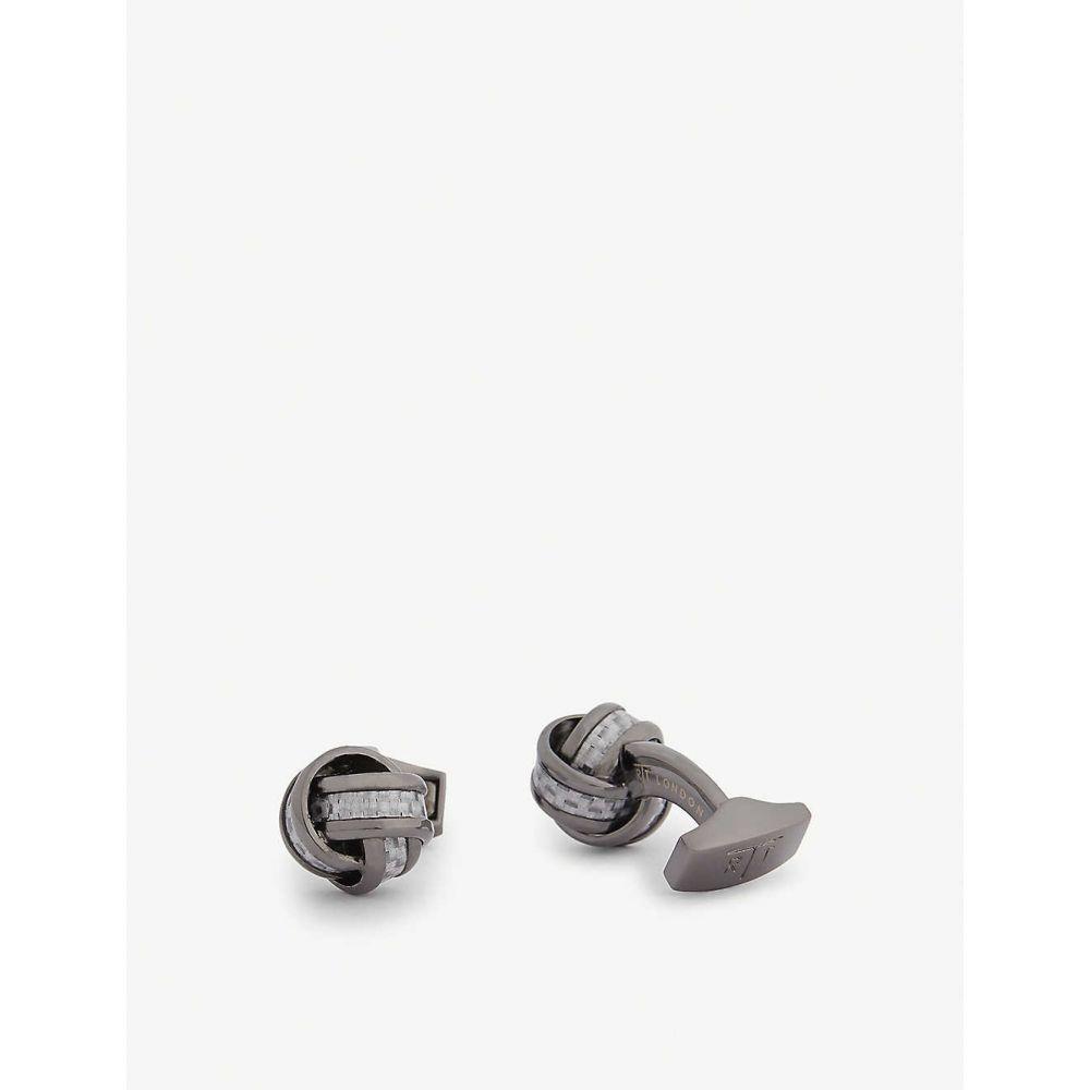 タテオシアン TATEOSSIAN メンズ カフス・カフリンクス 【Carbon fibre knot cufflinks】GREY
