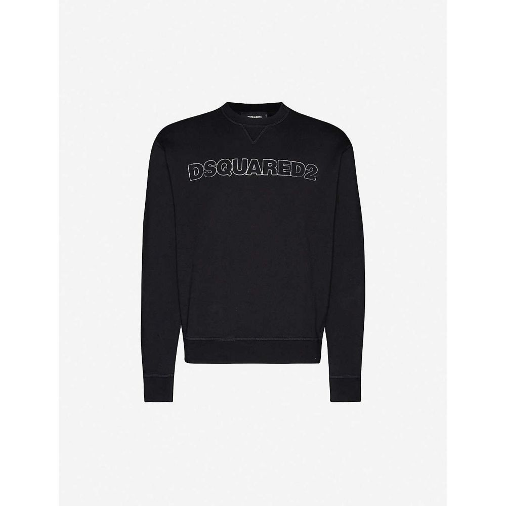 ディースクエアード DSQUARED2 メンズ スウェット・トレーナー トップス【Logo-embroidered cotton-jersey sweatshirt】BLACK
