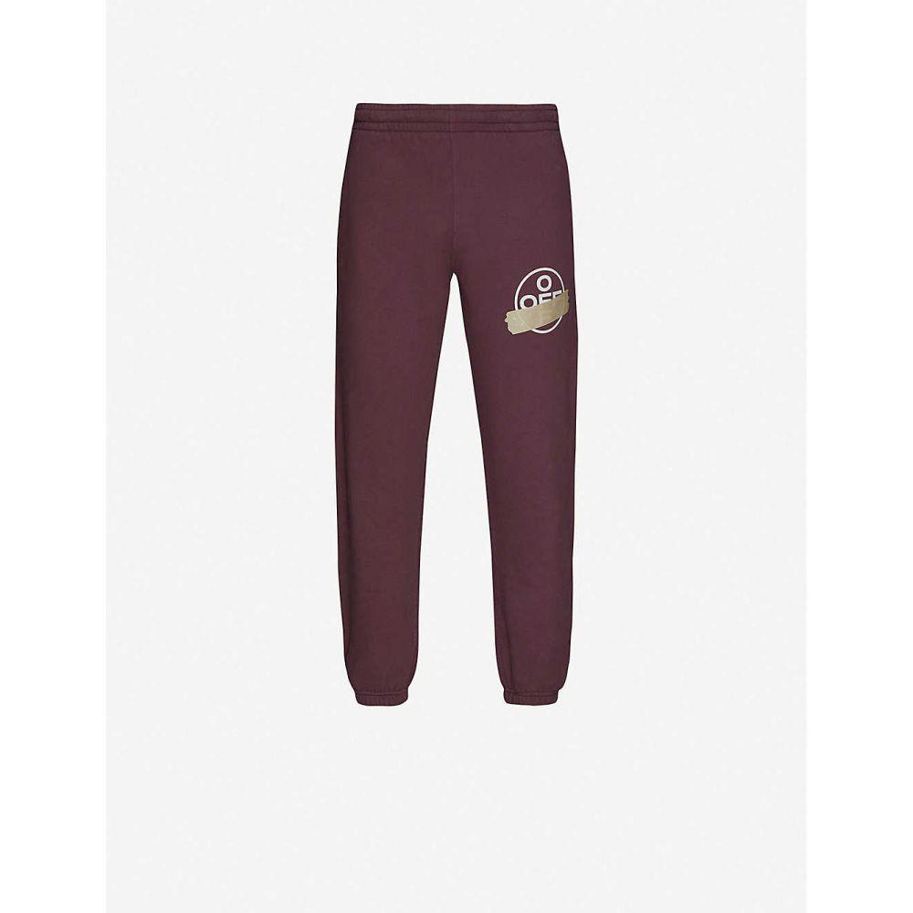 オフホワイト OFF-WHITE C/O VIRGIL ABLOH メンズ スウェット・ジャージ ボトムス・パンツ【Graphic-print cotton-jersey jogging bottoms】Purple