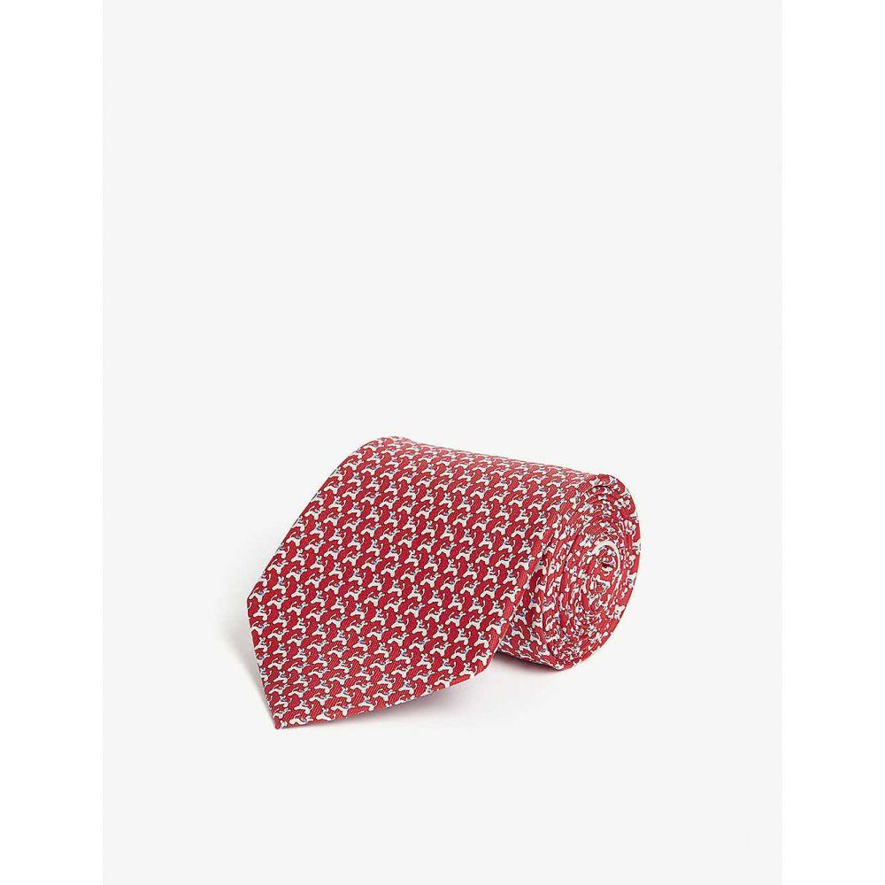 サルヴァトーレ フェラガモ SALVATORE FERRAGAMO メンズ ネクタイ 【Dog print silk tie】Rosso Azzurro