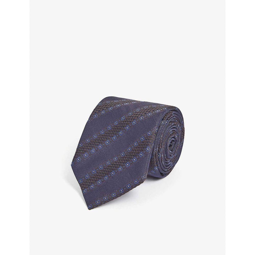 イートン ETON メンズ ネクタイ 【Striped silk and wool-blend tie】Blue