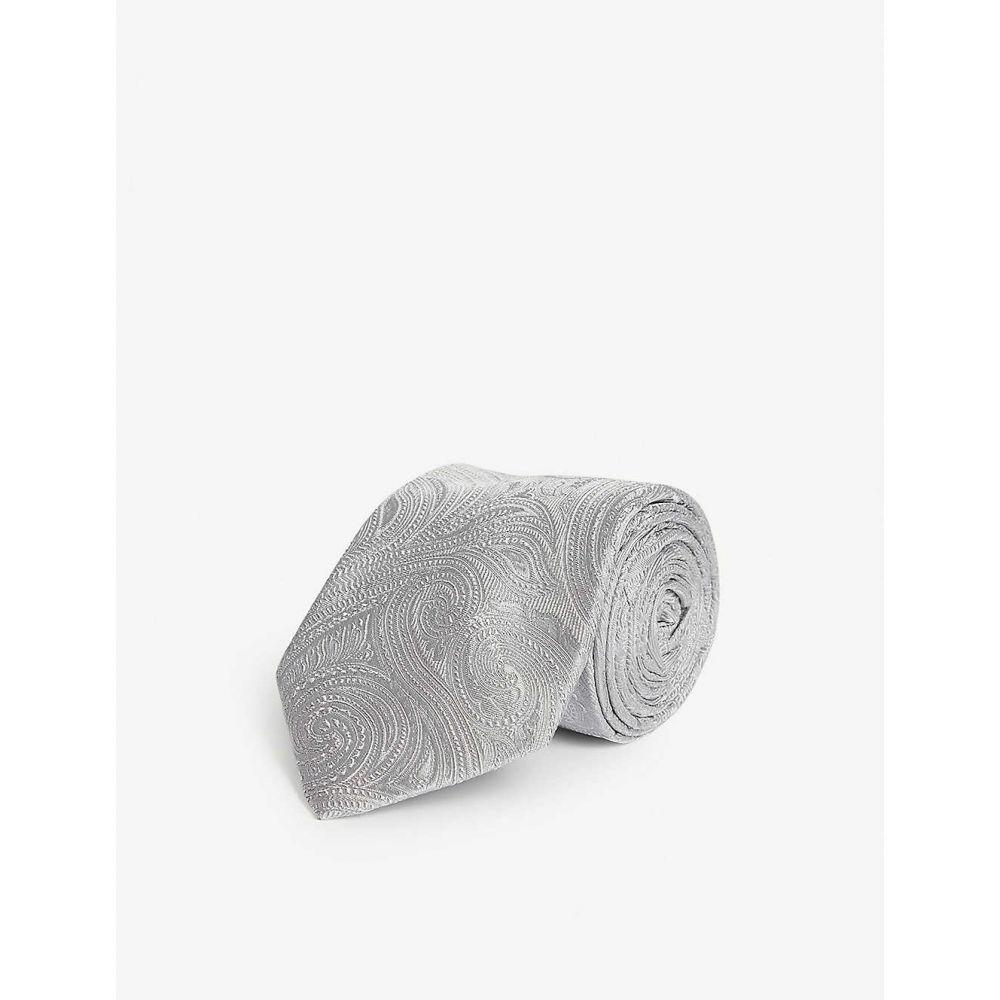 イートン ETON メンズ ネクタイ 【Paisley pattern silk tie】Grey