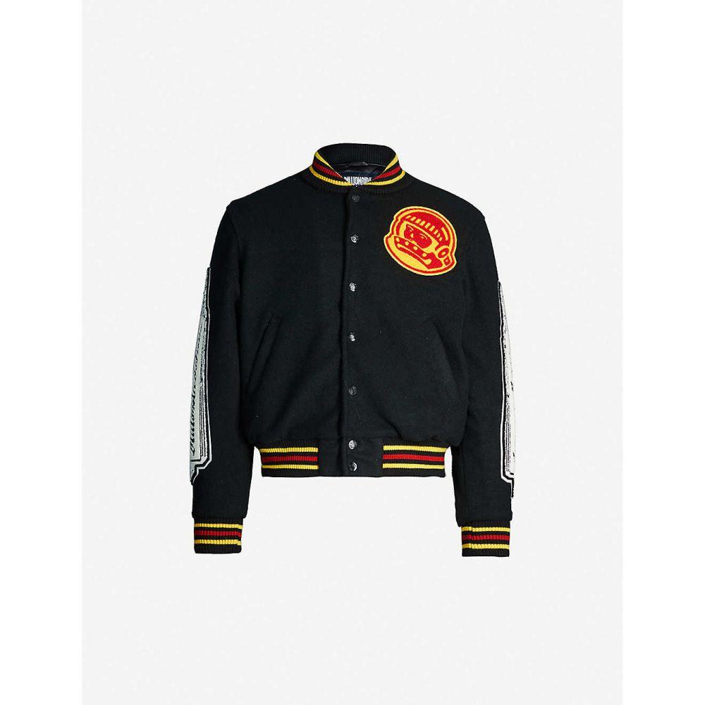 ビリオネアボーイズクラブ BILLIONAIRE BOYS CLUB メンズ ブルゾン ミリタリージャケット アウター【Heart & Mind striped-trim felt bomber jacket】BLACK