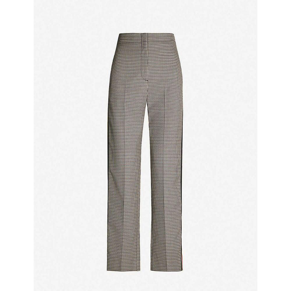 サンドロ SANDRO レディース ボトムス・パンツ 【Striped-trim checked straight woven trousers】Brown