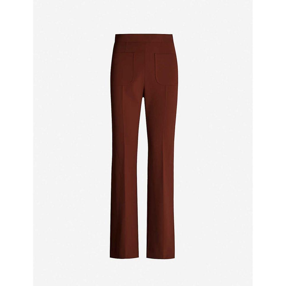 サンドロ SANDRO レディース スキニー・スリム ボトムス・パンツ【Bloone slim-fit straight stretch-crepe trousers】TOBACCO BROWN