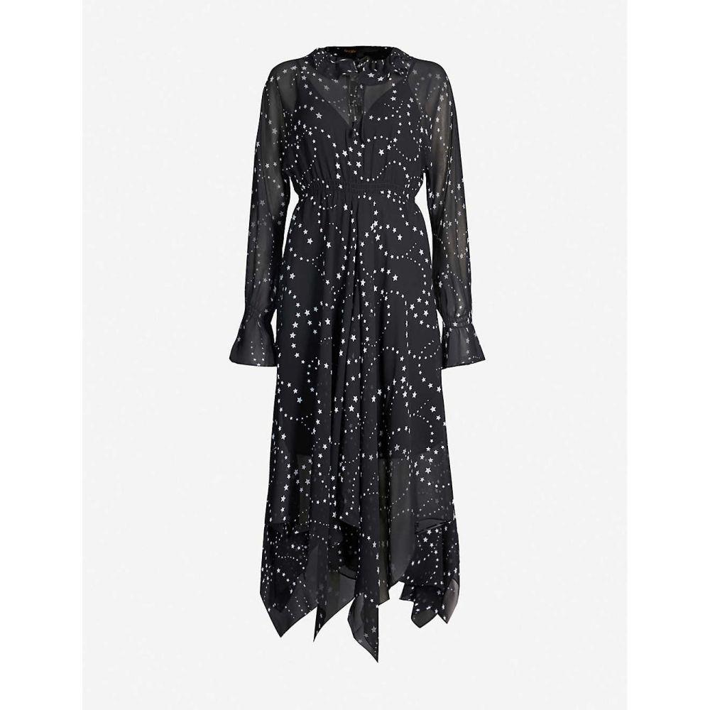 マージュ MAJE レディース ワンピース ワンピース・ドレス【Asymmetric-hem floral-print chiffon dress】Black