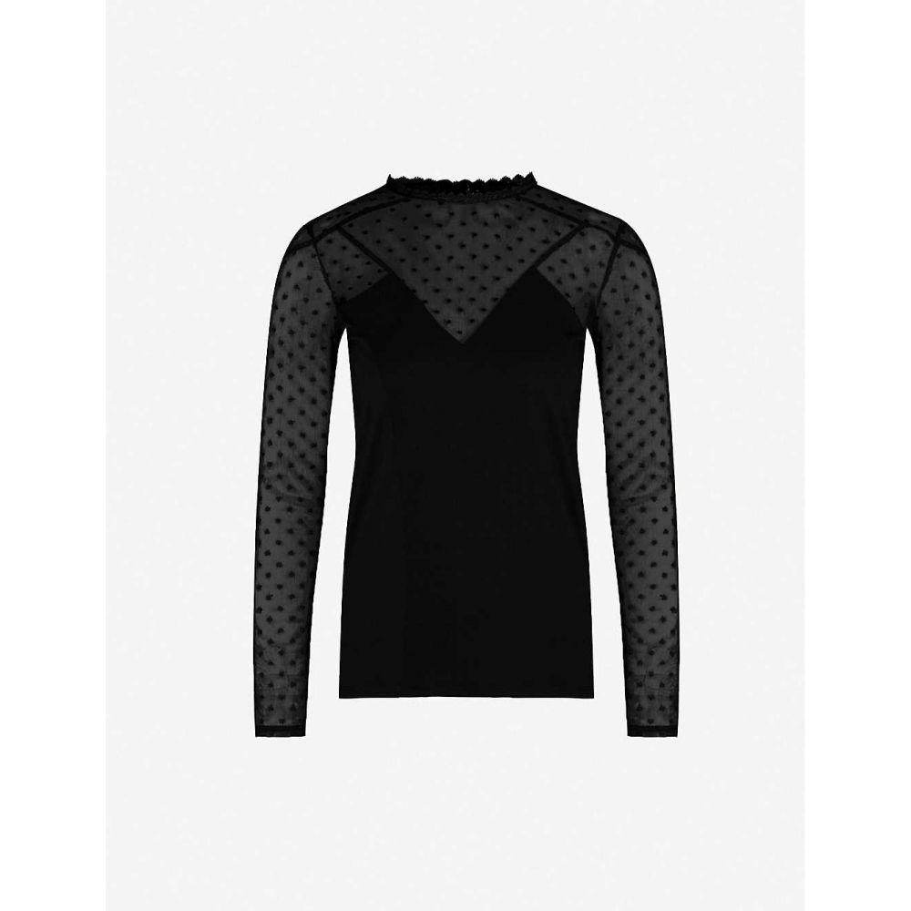 マージュ MAJE レディース トップス 【Polka-dot embroidered stretch-jersey and mesh top】Black