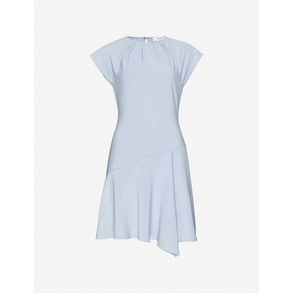 リース REISS レディース ワンピース ミニ丈 ワンピース・ドレス【Belle cap-sleeve woven asymmetric mini dress】PALE BLUE