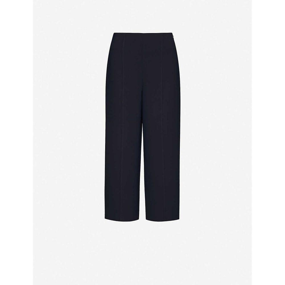 ホイッスルズ WHISTLES レディース クロップド ボトムス・パンツ【High-rise cropped crepe trousers】NAVY