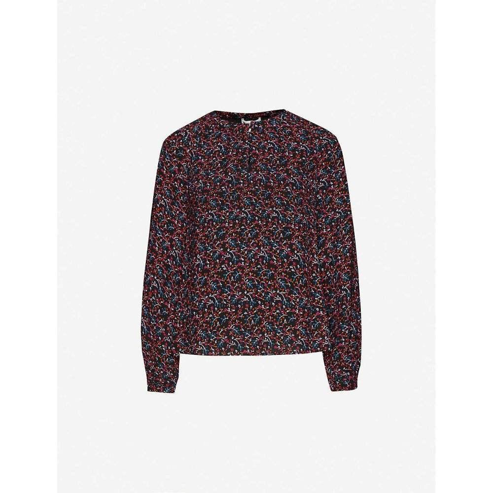 ホイッスルズ WHISTLES レディース ブラウス・シャツ トップス【Floral-print crepe shirt】BLACK