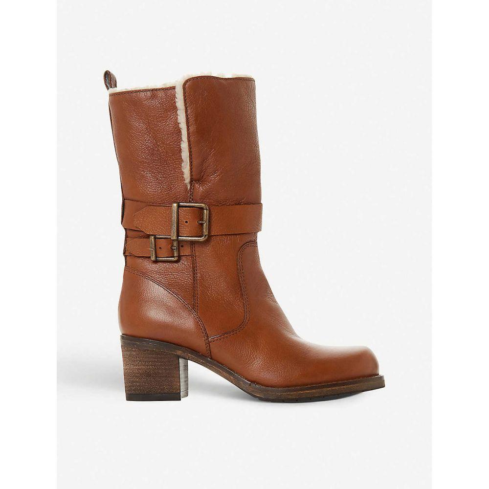 デューン DUNE レディース ブーツ ショートブーツ シューズ・靴【Rokoko fleece-trimmed leather ankle boots】TAN/LEATHER