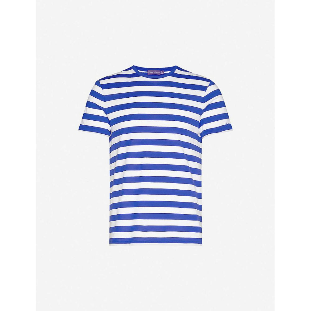 ラルフ ローレン RALPH LAUREN PURPLE LABEL メンズ Tシャツ トップス【Breton-stripe cotton-jersey T-shirt】Royal Blue/optic White