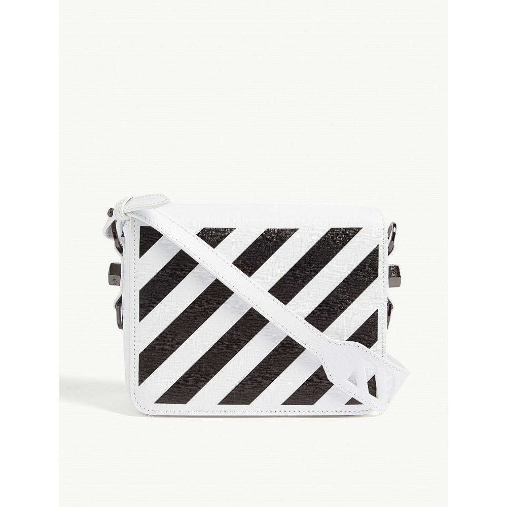 オフホワイト OFF-WHITE C/O VIRGIL ABLOH レディース ショルダーバッグ バッグ【Diagonal stripe leather cross-body bag】White Black
