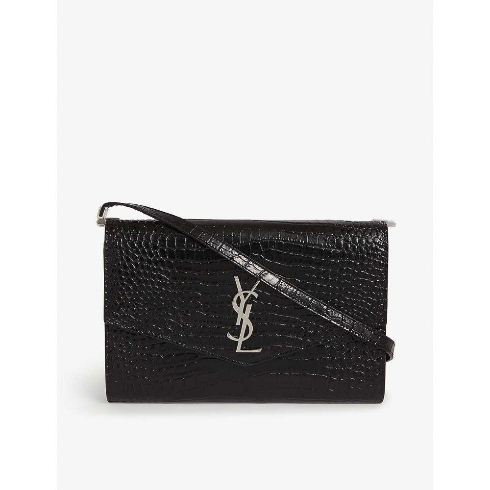 イヴ サンローラン SAINT LAURENT レディース ショルダーバッグ バッグ【Uptown croc-embossed leather shoulder bag】BLACK SILVER