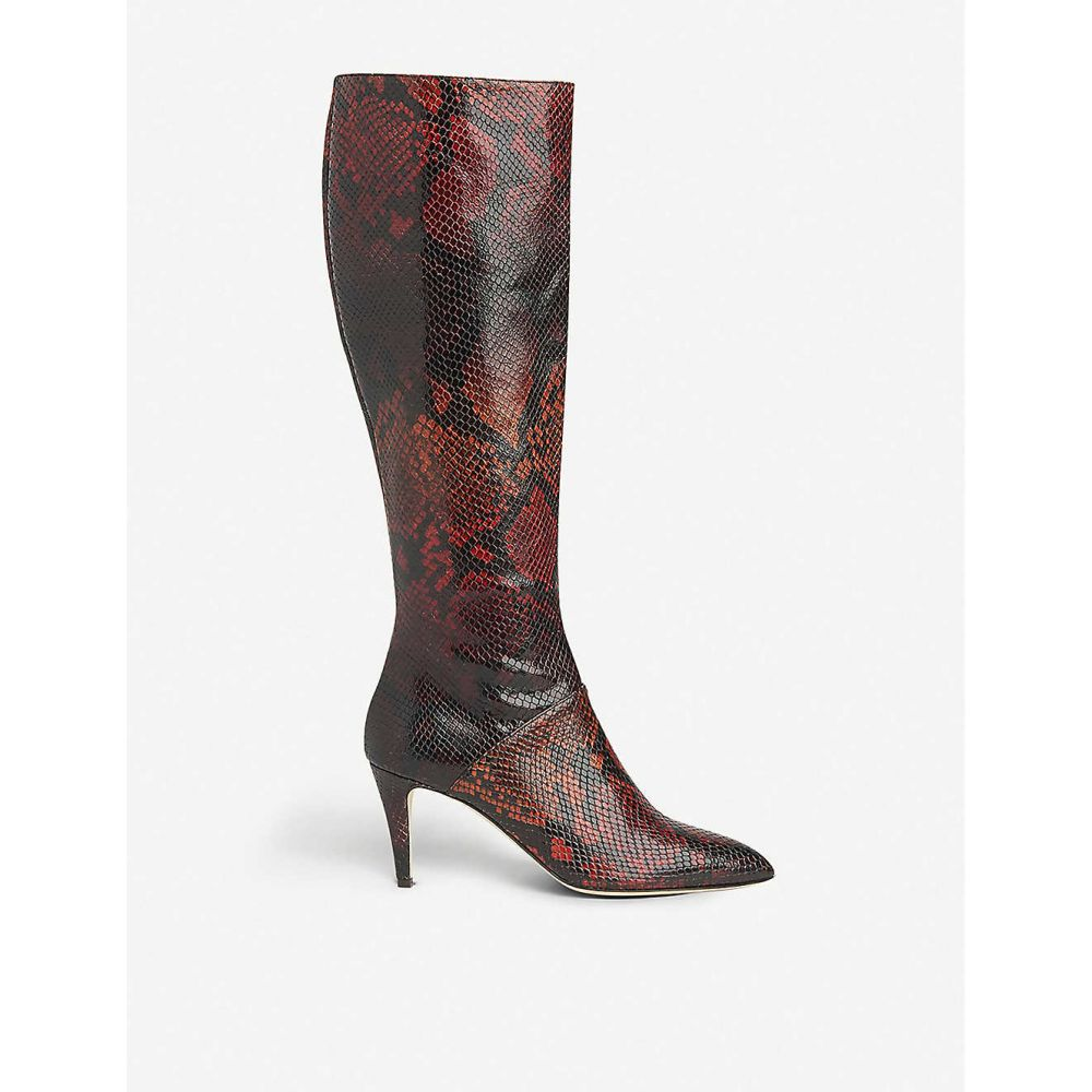 エルケーベネット LK BENNETT レディース ブーツ シューズ・靴【Gini snakeskin-embossed leather knee-high boots】RED/MERLOT