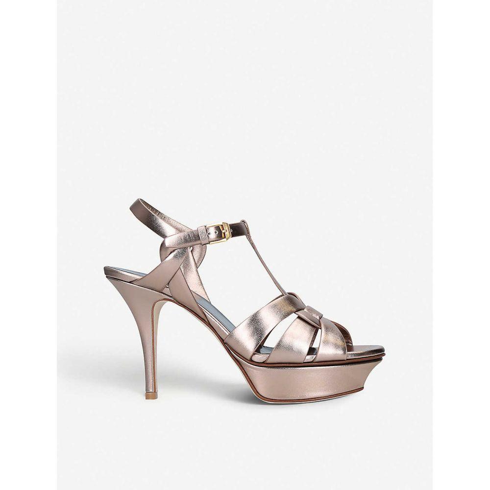 イヴ サンローラン SAINT LAURENT レディース サンダル・ミュール シューズ・靴【Tribute 75 metallic-leather platform sandals】PINK COMB