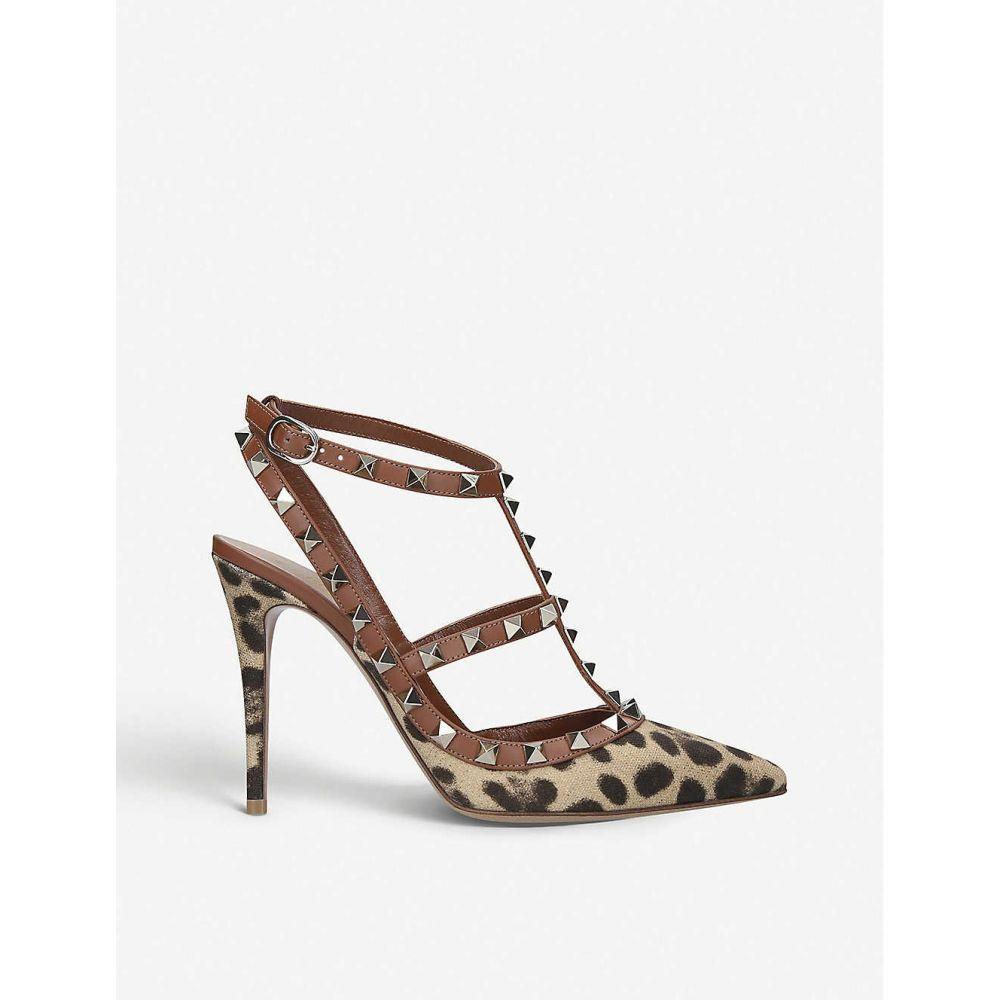 ヴァレンティノ VALENTINO レディース サンダル・ミュール シューズ・靴【Rockstud 100 leopard-print leather heeled sandals】TAN COMB