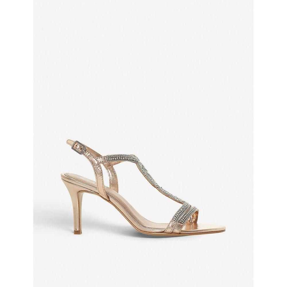 デューン DUNE レディース サンダル・ミュール シューズ・靴【Meena diamante-embellished leather sandals】ROSE GOLD/LEATHER
