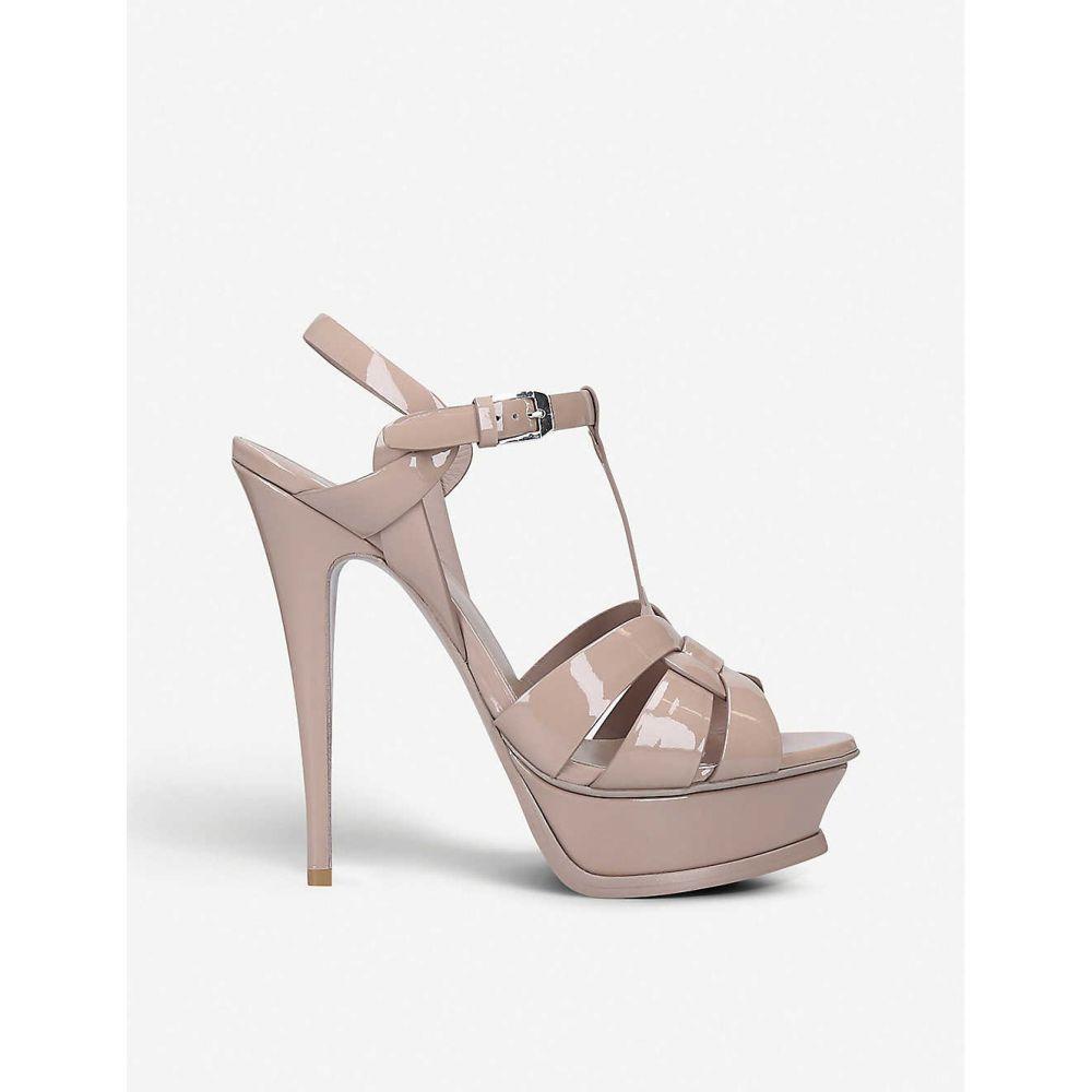 イヴ サンローラン SAINT LAURENT レディース サンダル・ミュール シューズ・靴【Tribute 105 patent-leather platform sandals】NUDE