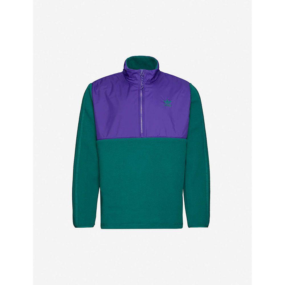 アディダス ADIDAS メンズ フリース シェルジャケット トップス【Funnel-neck shell and fleece jacket】Green Purple