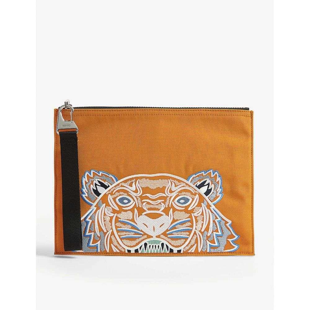 ケンゾー KENZO メンズ ポーチ 【Tiger embroidered nylon pouch】Medium Orange