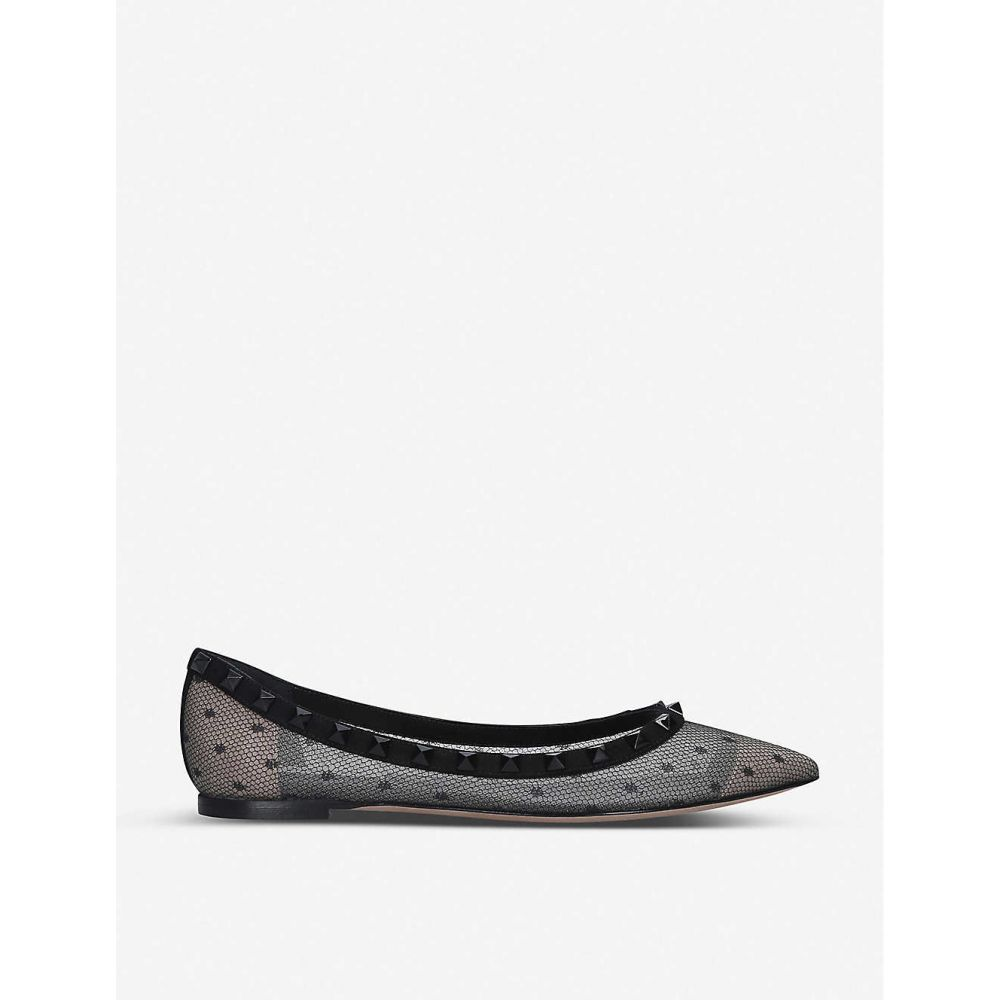 ヴァレンティノ VALENTINO レディース スリッポン・フラット シューズ・靴【Rockstud Swiss-dot mesh flats】BLACK